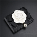 Chanel Camellia Genuine Leather Car Key Wallets Driver License Bag Holder for Credit Cards - Black