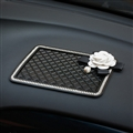 Chanel Diamond Camellia Flower Car Anti-Slip Mat Super Sticky Pad Anti-slip Mat for Phone - Black