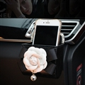 Chanel Camellia Flower Leather Auto Car Air Outlet Organizer Storage Pocket Bag Holder Box - Black