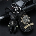 Chrome Hearts Crystal Car Key Bag Pocket Diamond Gloomy Bear Leather Key Holder - Black Gold