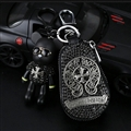 Chrome Hearts Crystal Car Key Bag Pocket Diamond Gloomy Bear Leather Key Holder - Black Sliver