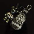 Chrome Hearts Crystal Car Key Bag Pocket Star Gloomy Bear Leather Key Holder - Black Sliver