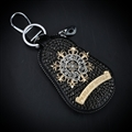 Chrome Hearts Crystal Car Key Case Bag Diamond Leather Key Holder Housekeeper - Black Gold