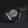 Chrome Hearts Crystal Car Key Case Bag Diamond Leather Key Holder Housekeeper - Black Sliver