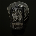 Chrome Hearts Crystal Car Key Case Bag Leather Key Holder Large Capacity Housekeeper - Black Sliver