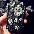 Chrome Hearts Crystal Car Key Case Bag Leather Key Holder Large Capacity Housekeeper - Black