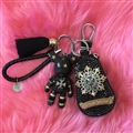 Chrome Hearts Crystal Car Key Case Bag Tassels Star Bomgom Bear Leather Key Holster - Black