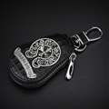 Classic Chrome Hearts Leather Car Key Cover Case Calabash type Key Holster - Black Sliver