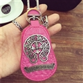 Classic Chrome Hearts Leather Car Key Cover Case Calabash type Key Holster - Rose