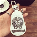 Classic Chrome Hearts Leather Car Key Cover Case Calabash type Key Holster - White