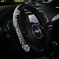 Classic Embroidery Chrome Hearts Leather Car Steering Wheel Covers - Black