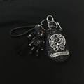 Cool Chrome Hearts Crystal Car Key Bag Pocket Gloomy Bear Leather Key Holder - Black Sliver