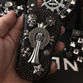 Cool Chrome Hearts Crystal Car Key Case Bag Leather Key Holder Large Capacity Holster - Black