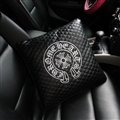 Cool Chrome Hearts Embroidery Genuine Leather Car Back Cushion Sofa Decor Throw Pillow - Black