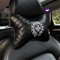 Cool Chrome Hearts Embroidery Genuine Leather Car Neck Pillows Support Headrest - Black