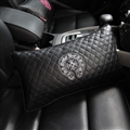 Cool Chrome Hearts Embroidery Genuine Leather Car Waist Pillows Support Back Cushion - Black