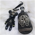 Cool Gloomy Bear Chrome Hearts Crystal Car Key Cover Bag Leather Key Holder Pocket - Cross