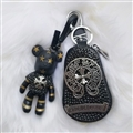 Cool Gloomy Bear Chrome Hearts Crystal Car Key Cover Bag Leather Key Holder Pocket - Star