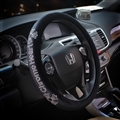 Diamond Chrome Hearts Car Steering Wheel Covers Short Plush Winter for Women - Black