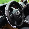 Embroidery Chrome Hearts Genuine Leather Car Steering Wheel Covers 38cm Car Accessories - Black