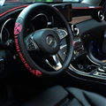 Embroidery Chrome Hearts Genuine Leather Car Steering Wheel Covers Breathe Holes - Rose