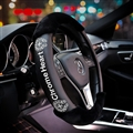 Fashion Winter Plush Chrome Hearts Genuine Leather Car Steering Wheel Covers Hairy - Black