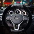 New Chrome Hearts Genuine Leather Plush Car Steering Wheel Covers Rex Rabbit fur Winter - Black
