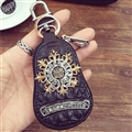 Personality Chrome Hearts Leather Car Key Cover Case Calabash type Key Holster - Black