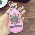 Personality Chrome Hearts Leather Car Key Cover Case Calabash type Key Holster - Pink
