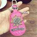 Personality Chrome Hearts Leather Car Key Cover Case Calabash type Key Holster - Rose