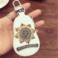 Personality Chrome Hearts Leather Car Key Cover Case Calabash type Key Holster - White