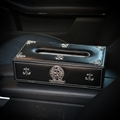 Personalized Alloy Chrome Hearts Leather Car Tissue Paper Boxs Holder for Car Home - Black