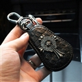 Retro Car Styling Chrome Hearts Leather Car Key Cover Case Holder Calabash type - Black