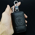 Retro Chrome Hearts Genuine Leather Embossed Car Key Cover Case Holder Square type - Black