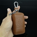 Retro Chrome Hearts Genuine Leather Embossed Car Key Cover Case Holder Square type - Brown