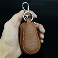 Retro Chrome Hearts Genuine Leather Embossed Car Key Cover Case Holder gourd type - Brown
