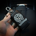 Retro Chrome Hearts Genuine Leather Car Key Cover Case Holder Square type for Men - Black