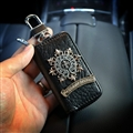 Retro Chrome Hearts Genuine Leather Car Key Cover Case Holder Square type for Men - Gold