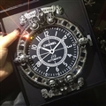 Retro Three Skull Chrome Hearts Anti-Slip Mat for Mobile Phone Chanel Silica Gel Car Sticky Pad - Black