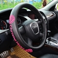 Rose Embroidery Chrome Hearts Genuine Leather Car Steering Wheel Covers 38cm Car Accessories - Black