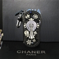 Unique Chrome Hearts Crystal Car Key Case Bag Diamond Leather Key Holder Holster Keychain - Black