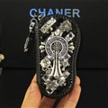 Unique Chrome Hearts Crystal Car Key Case Bag Leather Key Holder Large Holster Keychain - Black