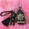 Unique Chrome Hearts Crystal Car Key Case Bag Tassels Diamond Leather Key Holster - Black Gold