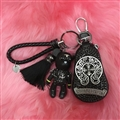 Unique Chrome Hearts Crystal Car Key Case Bag Tassels Diamond Leather Key Holster - Black Sliver
