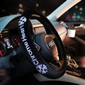 Winter Short Plush Embroidery Chrome Hearts Car Steering Wheel Covers Car Styling - Black