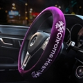 Winter Short Plush Embroidery Chrome Hearts Car Steering Wheel Covers Car Styling - Purple
