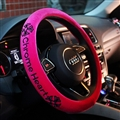 Winter Short Plush Embroidery Chrome Hearts Car Steering Wheel Covers Car Styling - Rose