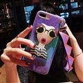 Cartoon Embroidery Goddess Silicone Cases For iPhone 7 Plus Lanyard Rivet Soft Covers - Purple