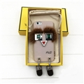 Fashion Fendi Monster Rivet Leather Case for iPhone 7 Plus Fox Fur Silicone Cover - Beige