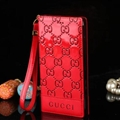 Gucci Print Flip Leather Case Universal Holster Skin for iPhone 7 Plus Rope Cover - Red